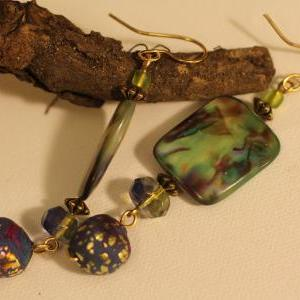 Earrings, Drop earrings, beads, gyp..