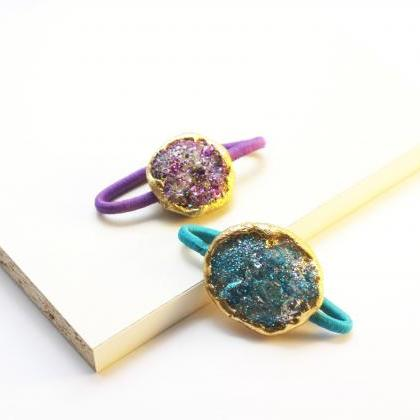 Faux Druzy Hair Elastic, Pony Tail ..