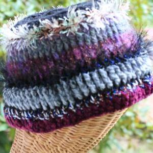 Womens Crochet Hat, Multi Fiber Clo..
