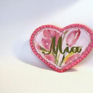 Pink Shabby Chic Flower Heart Appli..