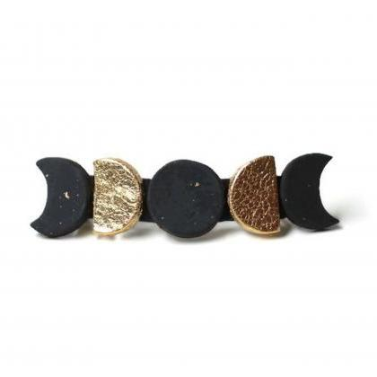 Moon Phase Hair Clips, Polymer Clay..