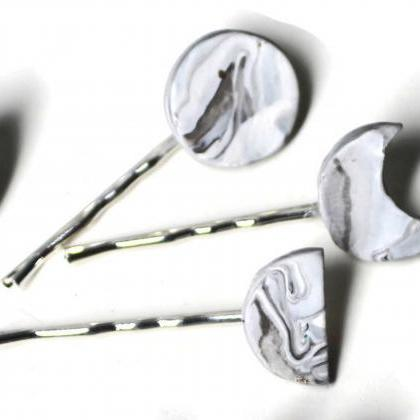 Moon Phase Hair Pins, White Marble ..