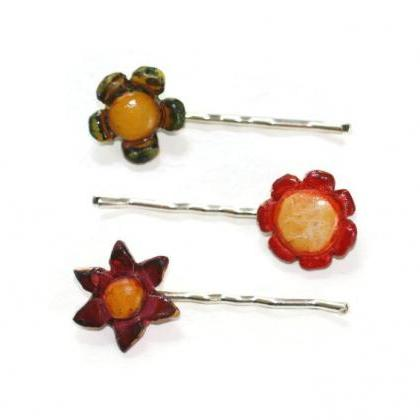 Mini Flower Bobby Pins, Set of Thre..