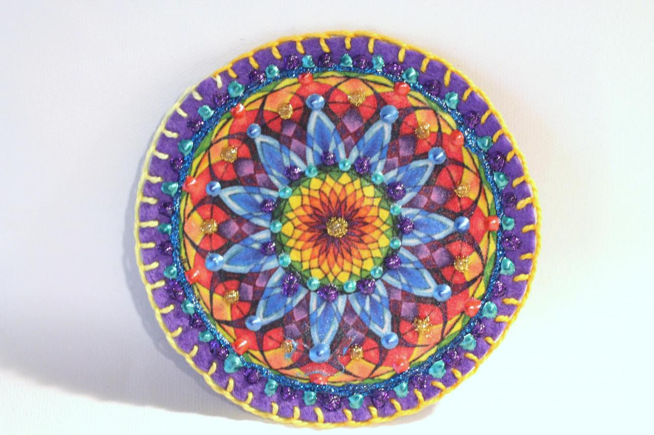 Hippie Boho Mandala Patch Personalized Hand Embroidered