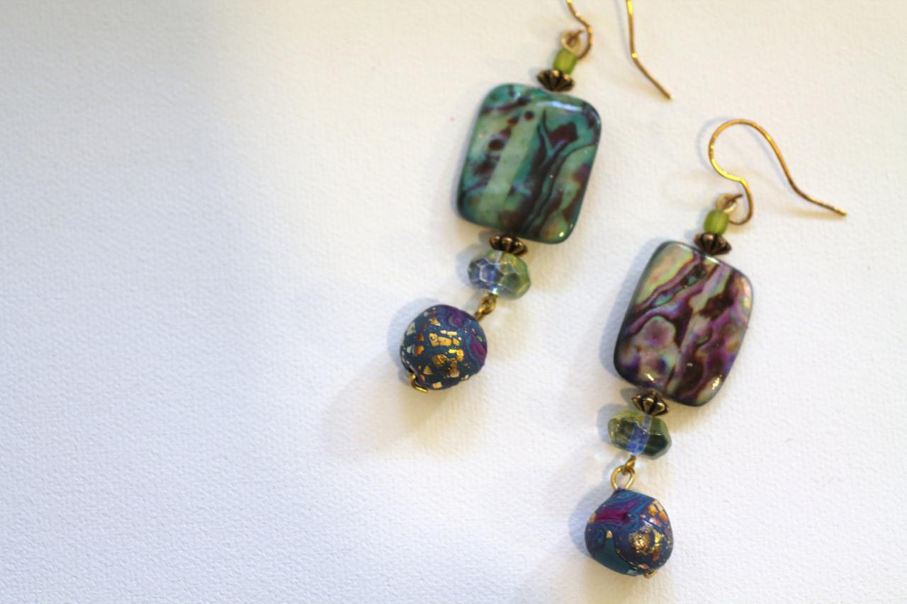 Earrings, Drop earrings, beads, gypsy, boho, art, shell, clay, gold leaf