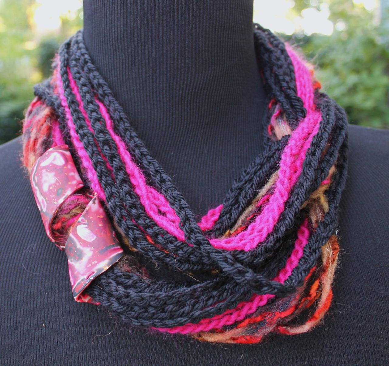 Fuschia Jet - Twisted Scarf with Marbled Clay Gold Embossed Clasp, 54', 24' or 18' Neck Wrap