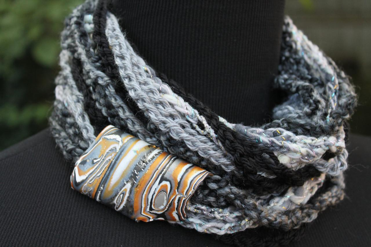 Black Marble - Womens Scarf, Mixed Fiber Neck Wrap/Twist with Jewelry Accent Closure, Can be worn 3 ways