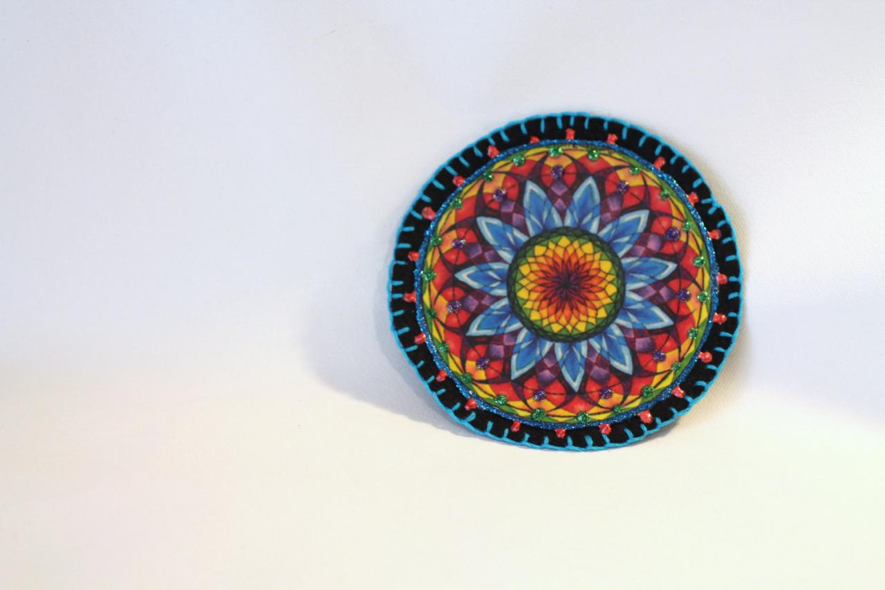 Hippie Boho Mandala Applique Patch, Personalized Hand Embroidered, Painted Decorative Accessory for Jeans, t shirts, bags