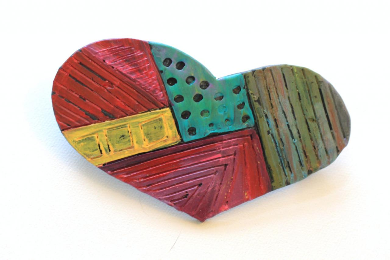 Barrette, Hair clip, Hand Painted Heart Barrette, Polymer Clay and Paint Rub-Off, Boho, Hippie, Gypsy