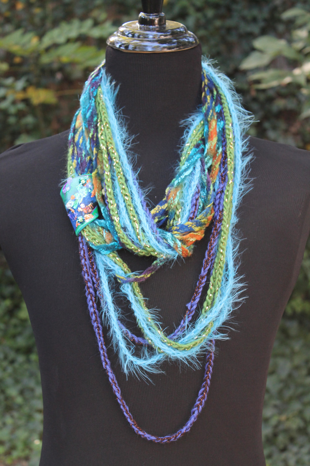 Blue Moss - Womens Scarf, Mixed Fiber Neck Wrap/Twist, Embellished Handmade Clasp, Gold Leaf