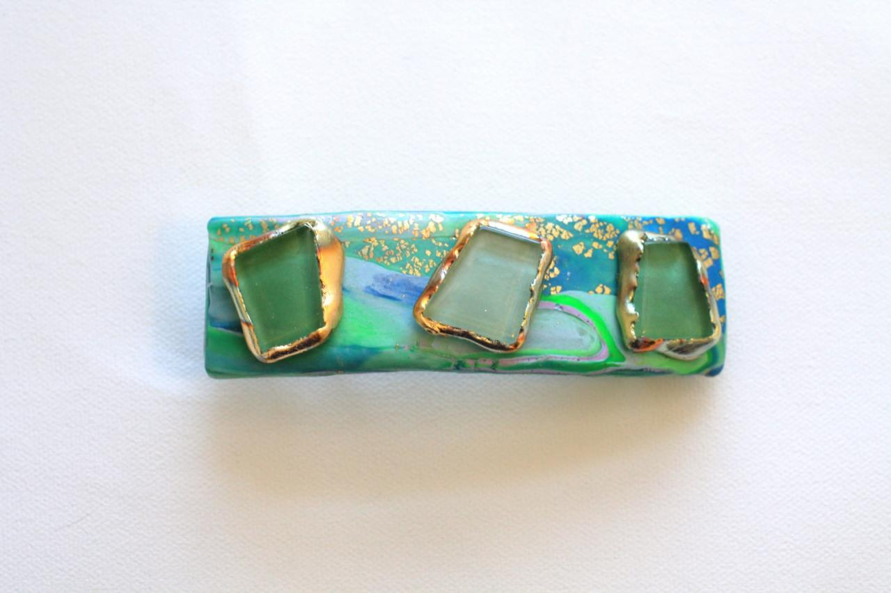 Women Hair Barrette, Hair Accessory in Mint Green for Spring, Polymer Clay, Stoned Hair Clip