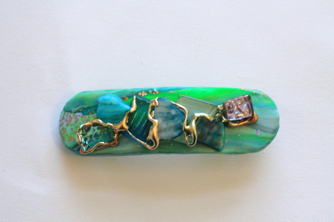 Barrette, Hair clip, Mint Green, Turquoise Shell, Gold, Stone Hairclip, Spring fashion, Green and Blue