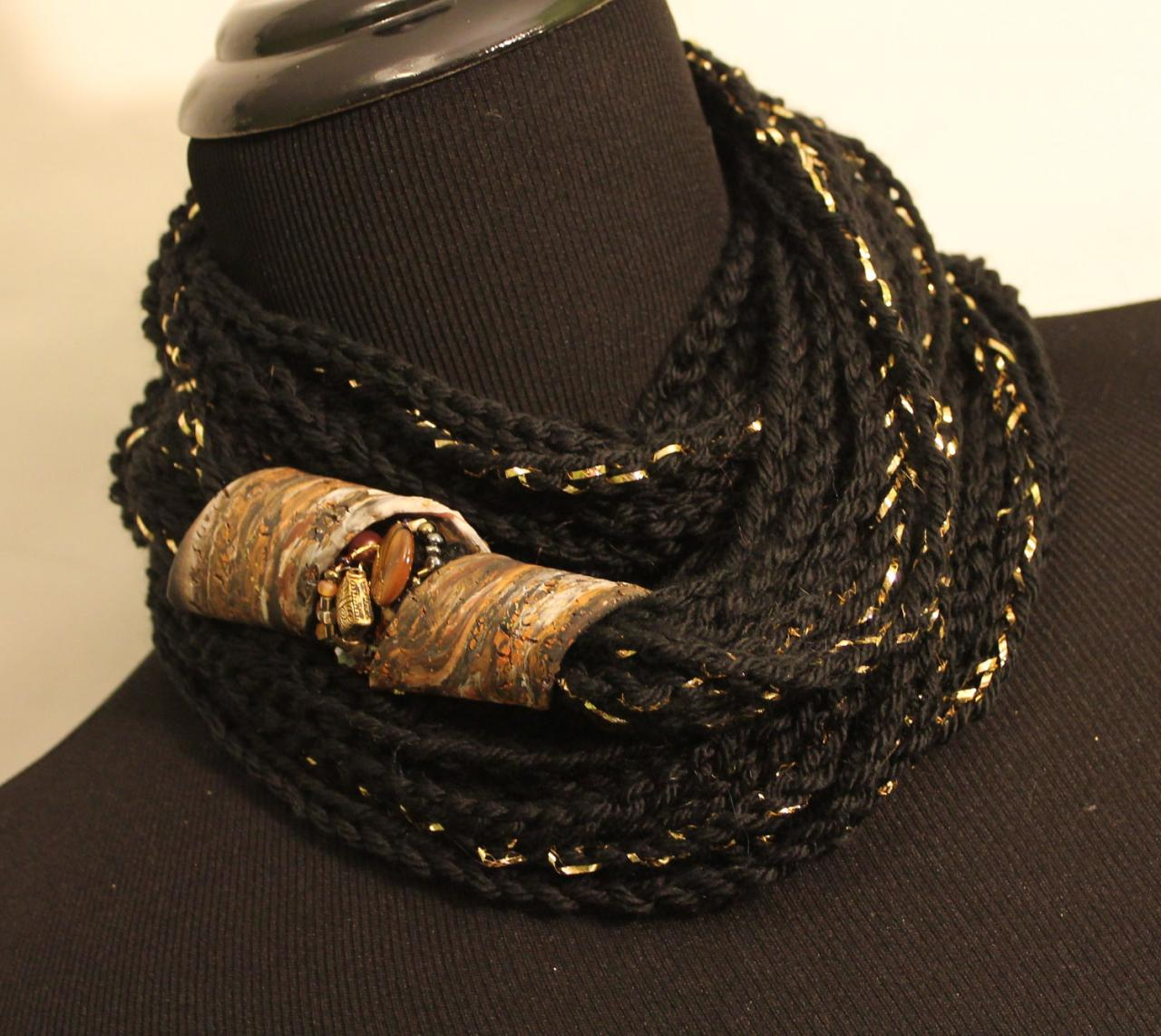 Black Gold - Womens Twisted Scarf, Marbled Clay Gold Embossed Clasp, 54', 24' or 18' Neck Wrap