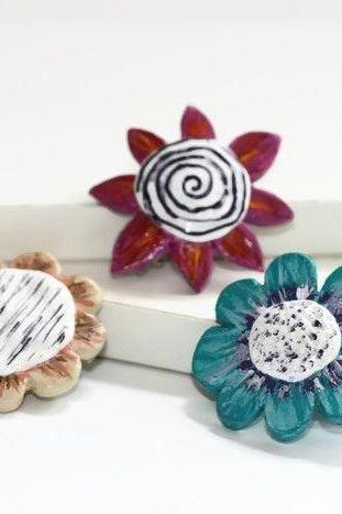 Flower Hair Clips, Pop Art Flower Barrettes, Small Barrettes for Women