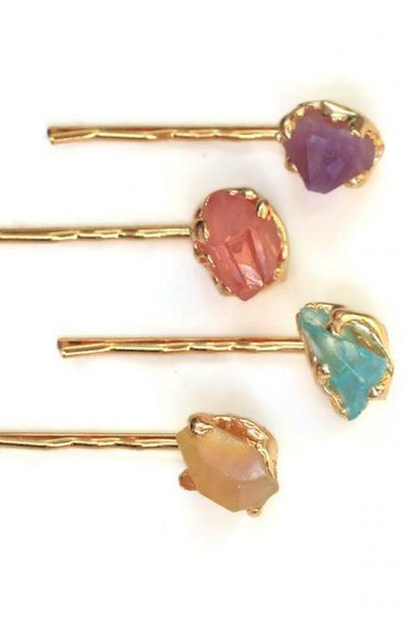 Chunky Stone Hair Pins, Colorful Natural Stone Chunk Bobby Pins, Healing Crystal Hair Pins