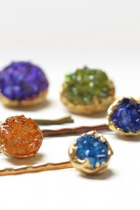 Crystal Hair Pins, Faux Druzy Colorful Bobby Pins, Sparkly Holiday Hair Jewels