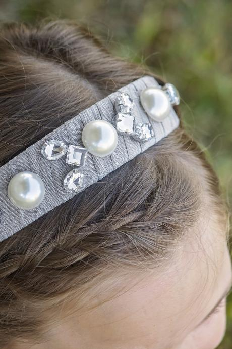 Jeweled Headband, Silvery Gray Headband, Pearl and Crystal Hair Accessory