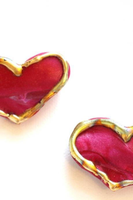 Red Heart Clips, Small Hair Clips, Small Hearts for Lovers