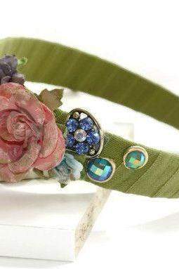 Jeweled Floral Headband, Vintage Inspired Hair Band, Unique Hairbands