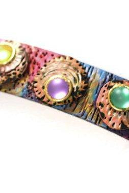Colorful Hair Barrette, Hair Clip for Women Girls Colors of Morocco, Hair Clip, Hand Painted and Carved Barrette