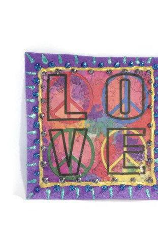 Hippie Love Applique, Applique for Jeans, Denim Patch, Patch for Clothes, Jacket Applique, Gifts for Her, Unique Applique, Accessory