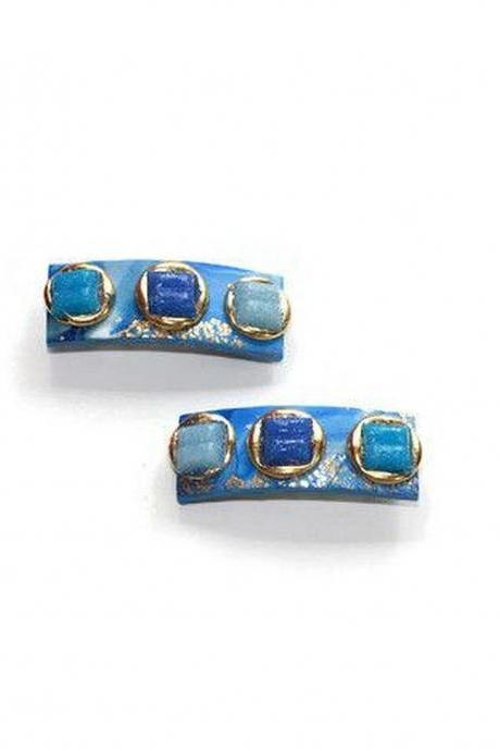 Blue Hair Clips with Glass Tiles, Mini Hair Clips for Short or Fine Hair Styles