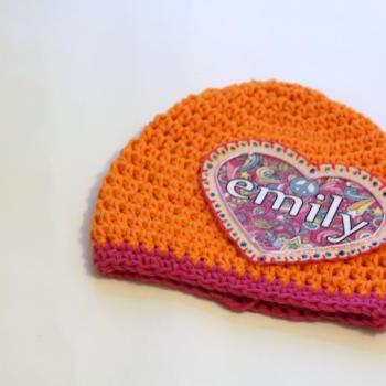 Baby Beanie, Personalized Childs Hat, Baby Hat with Shabby Chic Heart Applique, Personalized Baby Gift, Newborn Beanie