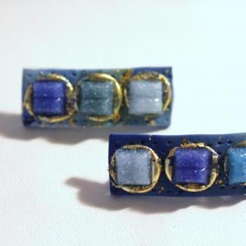 Womens Hair Clips, Blue Sea Glass Barrettes, Mini Barrettes, Sea Glass, Gold Embossed, Boho Barrettes