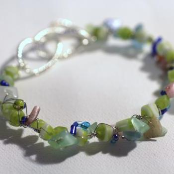 Sea Green Summer Bracelet, Stone Chips, Shell Beads, Wire Wrap, arm candy, bangle, stack bracelet