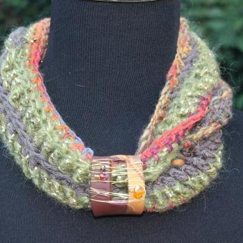 Infinity Neck Wrap, Scarf, Scarflette, Cowl Neck, Crochet with Jewelry Clasp, Wire Wrapping, Beads and Polymer Clay