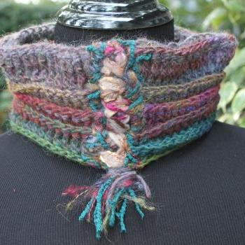Womens Romantic High Neck Cowl Scarf, Crochet Scarf from Linen, Silk, Wool and Acrylic Fibers, Lace up with Tassel Drop