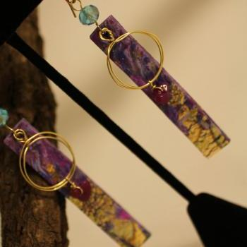 Purple Marble, Gold Embossed, Amethyst and Crystal Earring, Brass Wire Wrap