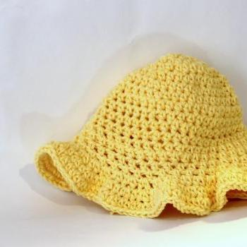 Girls Cotton Baby Sunhat, crochet hat with ruffle brim for the sun, personalized, sunny yellow