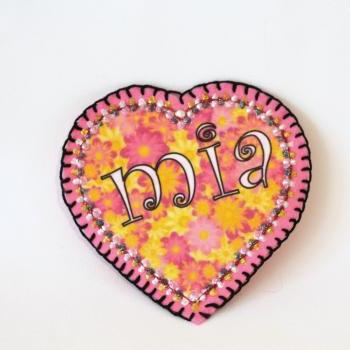 Flower Power Heart Patch, Personalized Hand Embroidered, Painted Decorative Accessory for Jeans, t shirts, bags