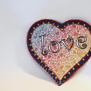 Hippie Boho Flower Power Heart Applique, Personalized Hand Embroidered, Painted Decorative Accessory for Jeans, t shirts, bags