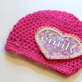 Baby Beanie, Personalized Baby Hat, Shabby Chic Flower Heart Applique, Personalized Baby Beanie, 100% Cotton Hand Crochet Indie Made Hot Pink & Black