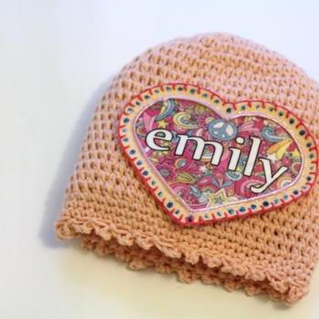 Personalized Baby Beanie, 100% Organic Cotton Hand Crochet Indie Made Peach Lace, Name Patch, Custom Name