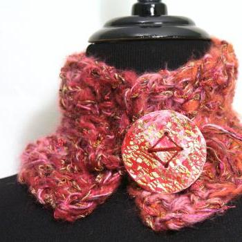 Womens Infinity Cowl Scarf, Silky Soft Pink Cowl Scarf, Womens Scarf Accessory, Rose fibers with Polymer Button Gold Leaf