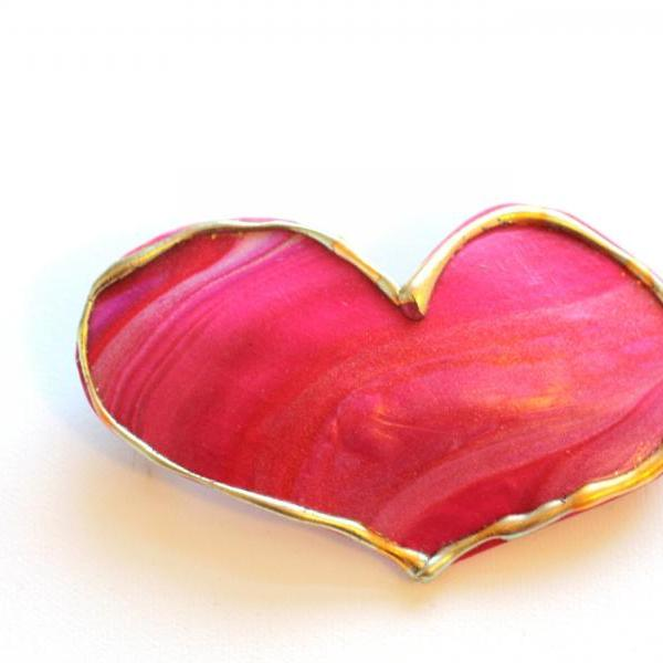 Heart Hair Clip, Large Ruby Red Pink Heart Hair Barrette, Heart Clip for Long Hair, Perfect for Valentines Day