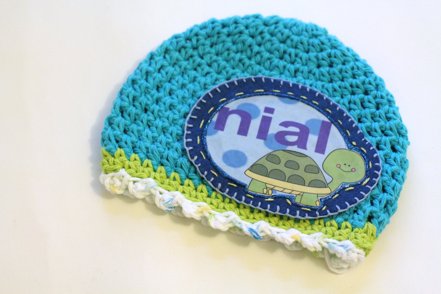 515cc84d5 Baby Beanie, Personalized Baby Hat, Baby Gift, Turquoise Summer Baby Turtle  Personalized Baby Beanie, 100% Cotton Hand Crochet With Your Name