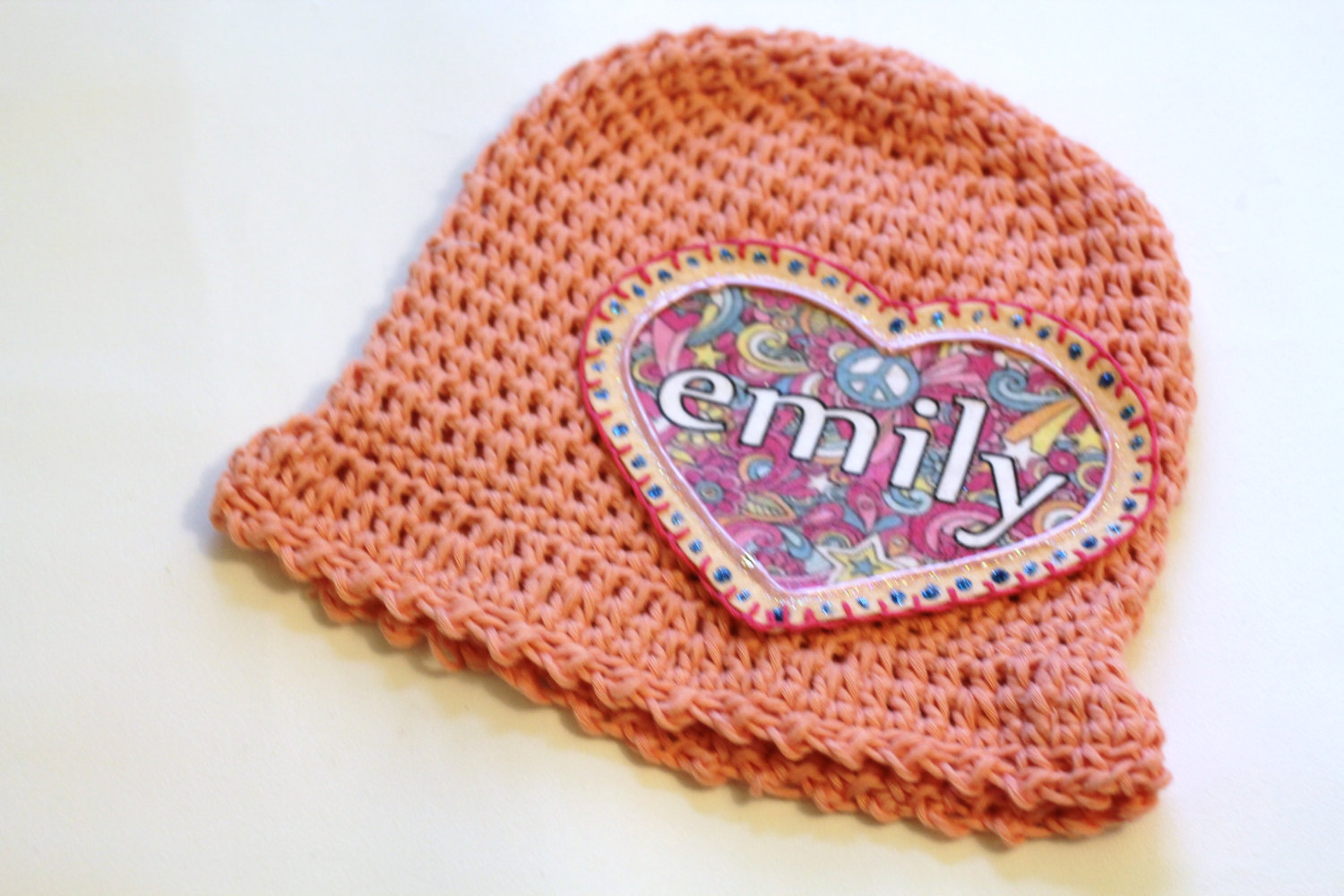 b1e62628d Personalized Baby Beanie, 100% Organic Cotton Hand Crochet With Pink Floral  Heart Personalized Name Applique